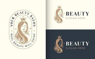 woman hair salon logo design vector