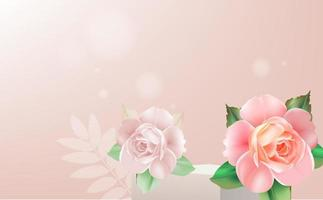 display stand decorated with roses vector