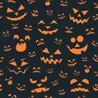 Halloween Seamless Pattern with Orange Scary Faces vector