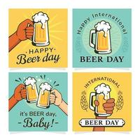 International Beer Day Cards Collection vector