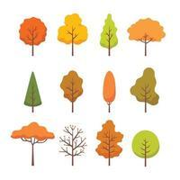 colección de diferentes árboles de otoño. vector
