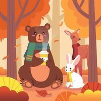 lindos animales en el bosque de otoño vector