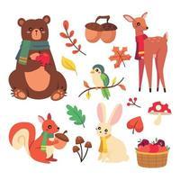 Cute Autumn Elements vector