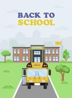 Illustration of a yellow bus approaching the school. vector
