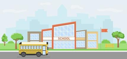 Summer cityscape with school building and yellow bus. vector