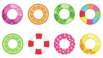 Set of bright inflatable swimming rings. Summer water lifebuoys. vector
