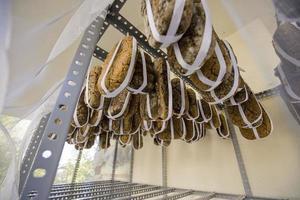 DoenJang, traditional  Korea food. Air drying the soybean loaves photo