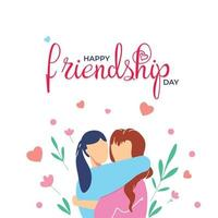 Poster of girls celebrates Friendship Day. vector