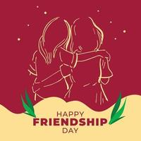 Poster of girls celebrates Friendship Day in outline format. vector