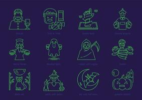 halloween outline icon set vector