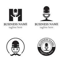 Microphone logo template vector icon set design