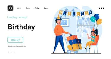 Kid birthday party web concept vector