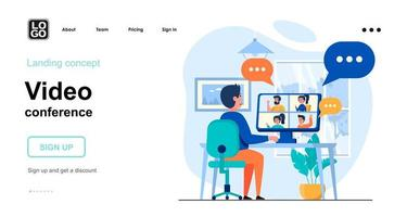 Video conference web concept vector