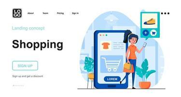 Shopping web concept vector