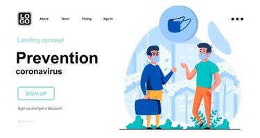 Prevention coronavirus web concept vector