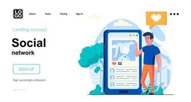 Social network web concept vector