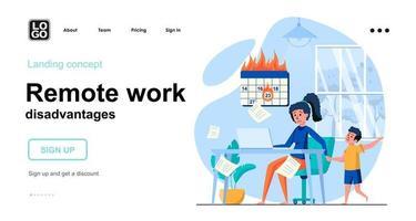 Remote work disadvantages web concept vector
