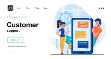 Customer support web concept vector