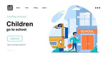 Children go to school web concept vector