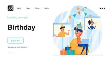 Online birthday party web concept vector