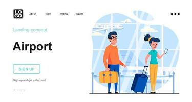 Airport web concept vector