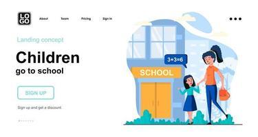 los niños van a la escuela concepto web vector