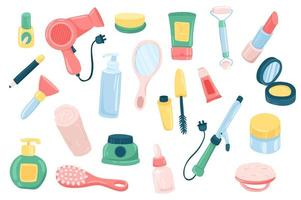 Beauty routine accessory cute stickers isolated set vector