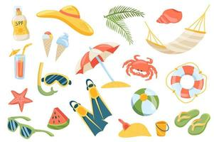 Summer vacation cute stickers isolated set vector