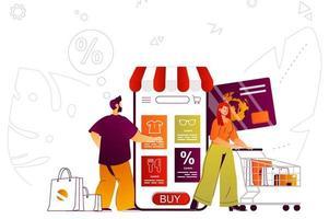 Mobile shopping web concept vector
