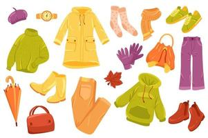 Autumn clothing cute stickers isolated set vector