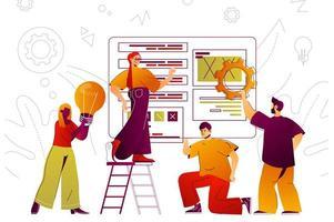 Teamwork web concept vector