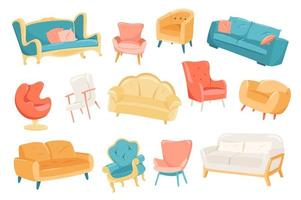 Furniture cute stickers isolated set vector