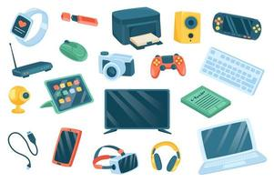 Devices cute stickers isolated set vector