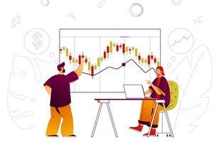 concepto de web de mercado de valores vector