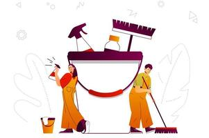 Cleaning company web concept vector