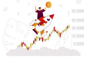 concepto de web de crecimiento de bitcoin vector