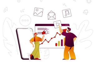 concepto web de marketing digital vector