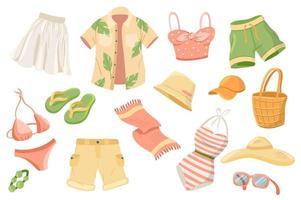 ropa de verano lindas pegatinas conjunto aislado vector