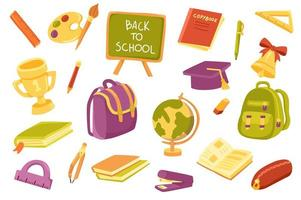 School supply cute stickers isolated set vector