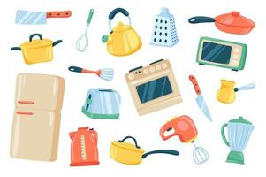Kitchen utensil cute stickers isolated set vector