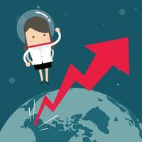 Businesswoman flying in a space with growth graph. vector