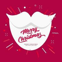 santa barba blanca saludos navideños fondo rojo. vector