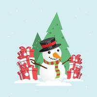 Merry Christmas Snowman with a gift box in snowy winter. vector