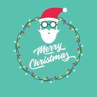 Feliz Navidad y tarjeta de felicitación de año nuevo con cara de santa claus. vector