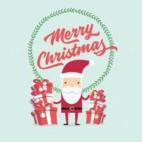 Christmas and New Year Greeting card, Santa Claus with gifts box. vector