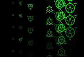 Dark Green, Yellow vector backdrop with mystery symbols.