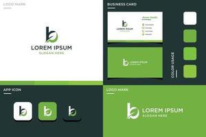 Letra b con hojas de tarjeta de visita e icono para empresas vector