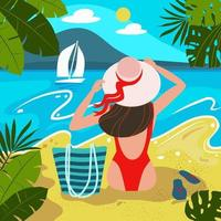 Silhouette of romantic girl in red swimsuit and hat vector