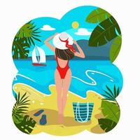 Silhouette of romantic girl in red swimsuit and hat standing vector