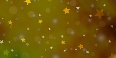 Dark Green, Yellow vector backdrop with circles, stars.
